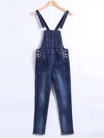 Fashion Pocket Design Buttoned Denim Overall Pants