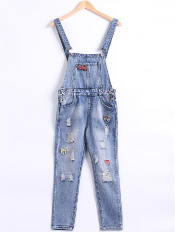 Fashion Pocket Frayed Icon Patchwork Overall Pants
