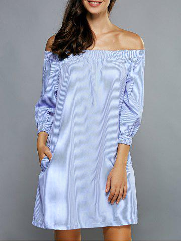 Shop Off Shoulder Casual Striped Tunic Dress LIGHT BLUE XL