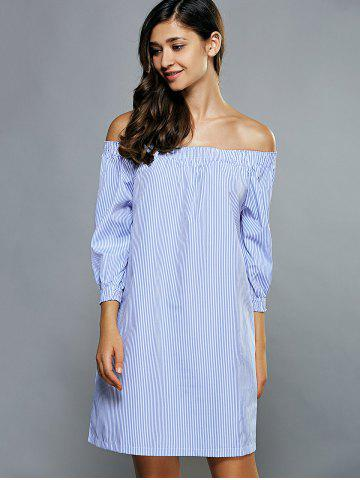 Sale Off-The-Shoulder Striped Tunic Dress - S LIGHT BLUE Mobile