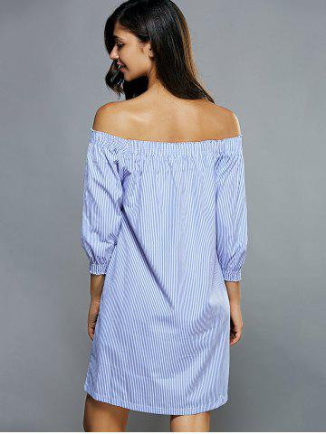 Store Off-The-Shoulder Striped Tunic Dress - S LIGHT BLUE Mobile