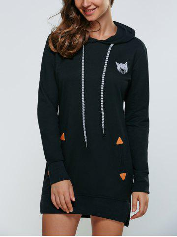 Best Animal Embroidered High Low Hooded Sweatshirt Dress BLACK L