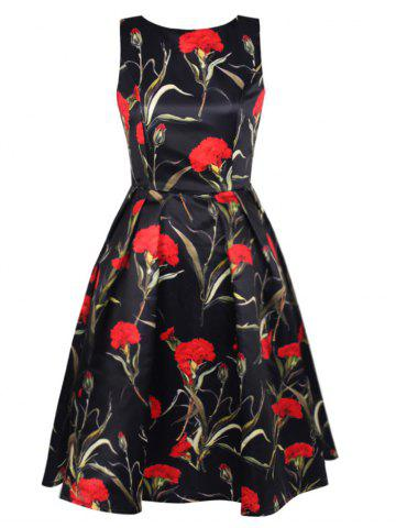 Chic Blossom Floral Print Swing Prom Dress