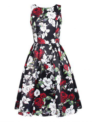 Outfits Sleeveless Floral Fit and Flare Prom Dress