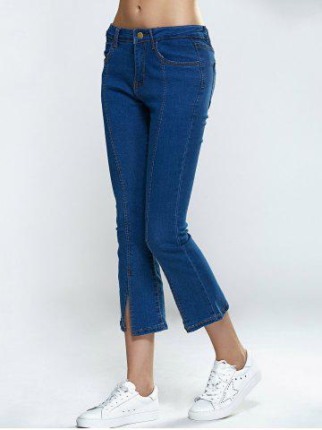 Store Split Hem Skinny Cropped Flare Jeans - S DENIM BLUE Mobile