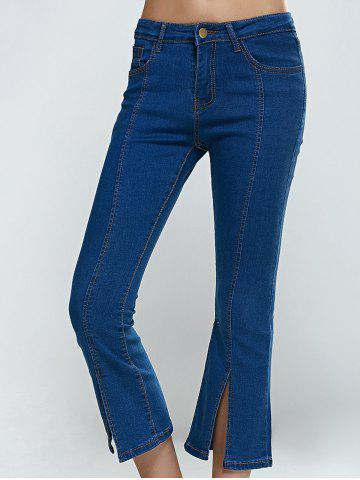 Sale Split Hem Skinny Cropped Flare Jeans - S DENIM BLUE Mobile