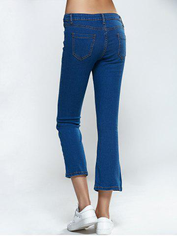 Hot Split Hem Skinny Cropped Flare Jeans - S DENIM BLUE Mobile