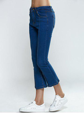 Shop Split Hem Skinny Cropped Flare Jeans - S DENIM BLUE Mobile
