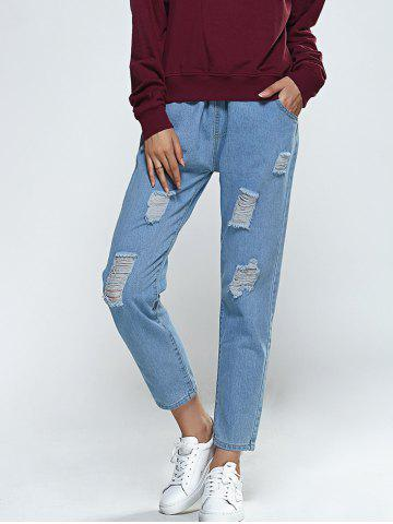 Fancy Elastic Waist Broken Hole Pocket Design Jeans LIGHT BLUE M