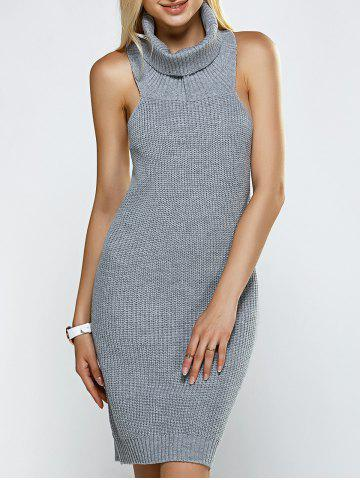 Online Turtleneck Backless Ribbed Sleeveless Sweater Dress GRAY ONE SIZE