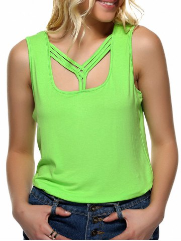 New Strappy Candy Color Tank Top NEON BRIGHT GREEN XL
