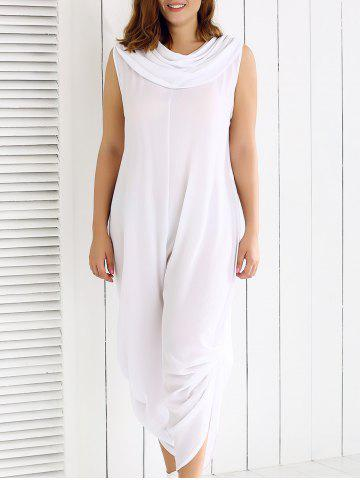 Discount Plus Size Cowl Neck Ruched Plain Jumpsuit