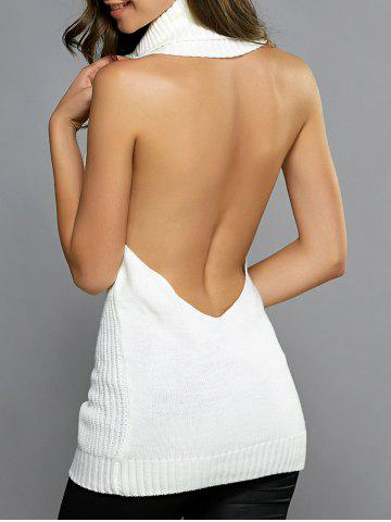 Turtleneck Open Back Longline Sweater Vest - White - One Size