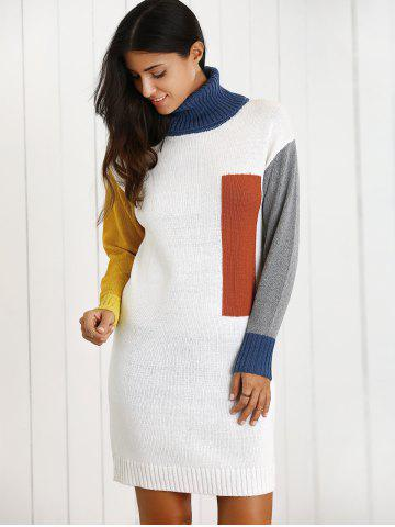 Fancy Color Block Turtleneck Wool Blend Sheath Sweater Dress