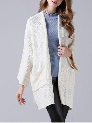 Fashion Drop Shoulder Twin Pocket Loose Cardigan