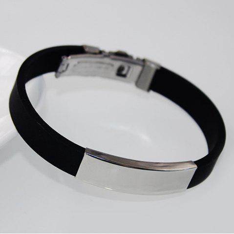 Outfit Stainless Steel Rubber Bracelet - BLACK  Mobile