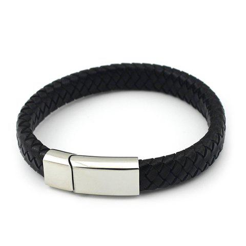 Outfit Braided Faux Leather Magnet Buckle Bracelet
