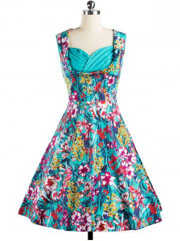 Discount Sweetheart Neck Floral Print Dress