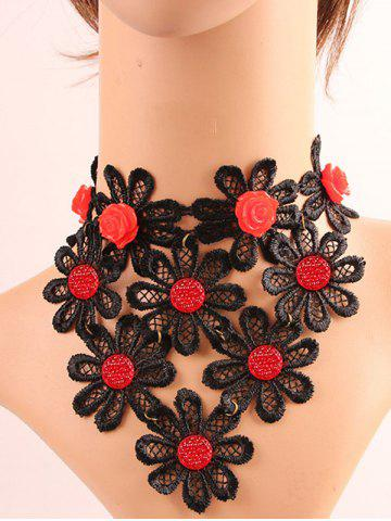 Online Lace Crochet Floral Necklace
