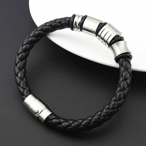 Unique Vintage Geometric Braided Faux Leather Bracelet - BLACK  Mobile