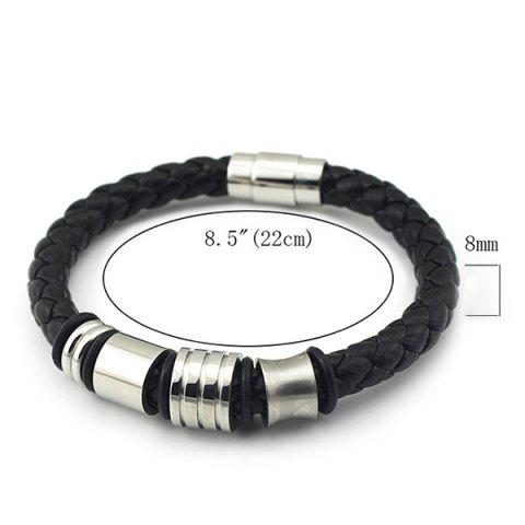 Best Vintage Geometric Braided Faux Leather Bracelet - BLACK  Mobile