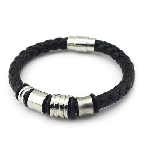 Chic Vintage Geometric Braided Faux Leather Bracelet - BLACK  Mobile