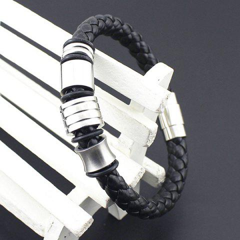 Shop Vintage Geometric Braided Faux Leather Bracelet - BLACK  Mobile
