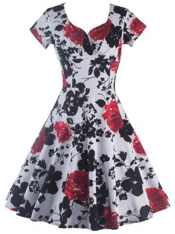 Short Sleeve Flower Print Swing Dress - Black And White And Red - S