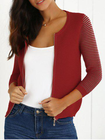 Hot Zip Up Striped Cardigan