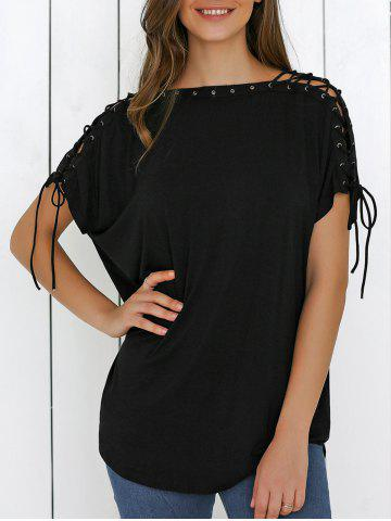 Lace-Up Batwing Sleeve T-Shirt - Black - S