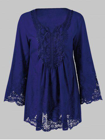 Fancy Lace Splicing Long Sleeve Peasant Blouse - XL DEEP BLUE Mobile
