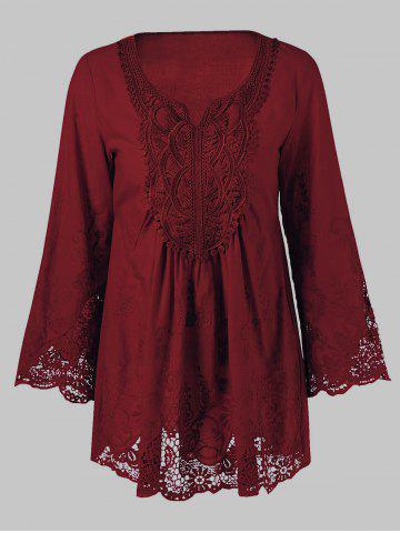 Lace Splicing Long Sleeve Peasant Blouse - Wine Red - L