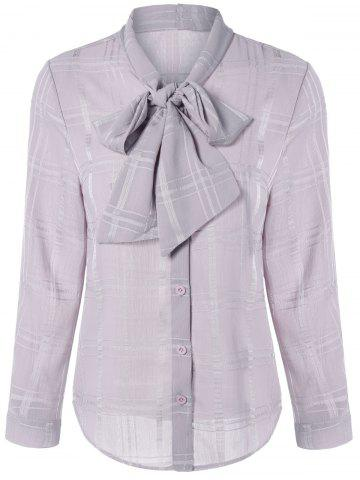 Long Sleeve Plaided Pussy Bow Tie Shirt - Nude Pink - M