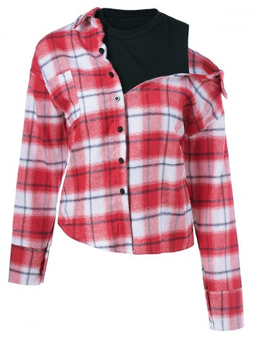 Trendy Long Sleeve Plaid Fake Twinset Shirt