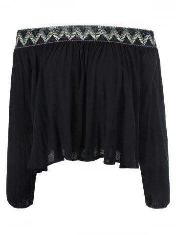 Cheap Ethnic Print Off The Shoulder Blouse
