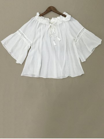 New Bell Sleeve Ruffle Neck Blouse
