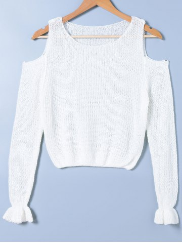 Fashion Bell Sleeve Scoop Neck Cut Out Knitwear