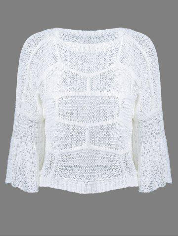 Outfits Crochet Bell Sleeve Pullover Knitwear