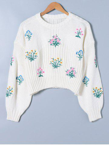 Store Floral Print Long Sleeve Knitwear WHITE ONE SIZE