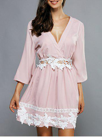 Trendy Plunging Neck Laciness Casual Cute Dress PINK XL