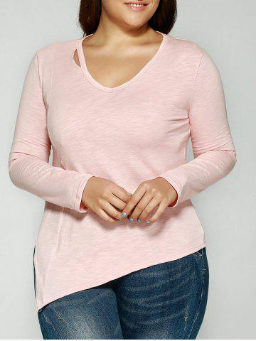 Affordable Cut Out V-Neck Asymmetrical T-Shirt PINK 3XL