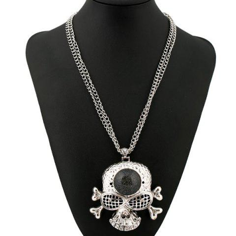 Buy Faux Gem Rhinestone Skull Sweater Chain SILVER