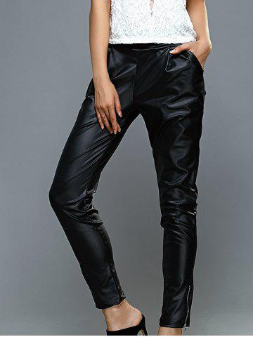 Affordable High-Waisted Faux Leather Zippered Pants BLACK XL