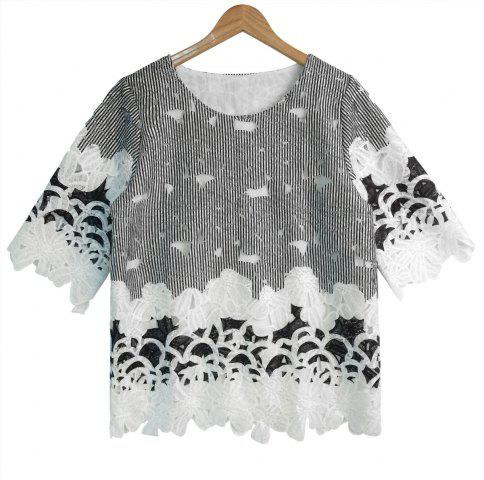 New Lace Spliced Hollow Out Striped Blouse