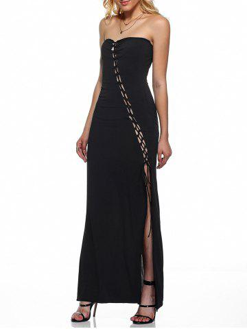 Outfit Strapless Lace-Up High Slit Dress