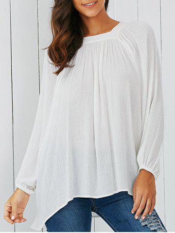 Latest Lantern Sleeve Smock Blouse WHITE L