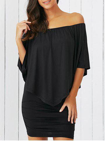 Online Overlay Off-The-Shoulder Bodycon Mini Dress