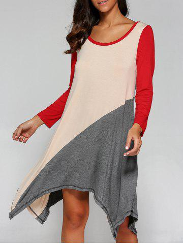 New Long Sleeve Asymmetrical T-Shirt Dress