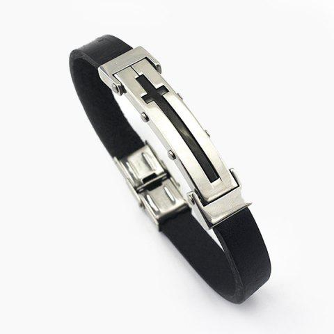 Cross Rubber Bracelet - Black