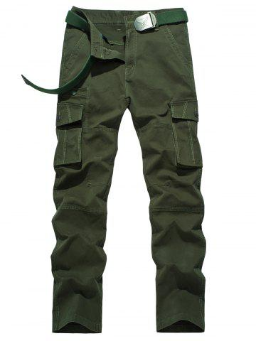 Plus Size Zipper Fly Button Flap Pockets Design Cargo Pants - Army Green - 30
